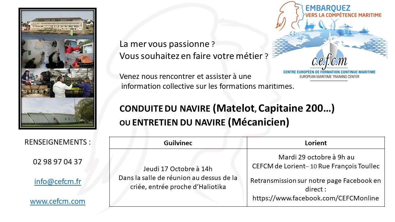 Informations collectives sur les formations maritimes – CEFCM